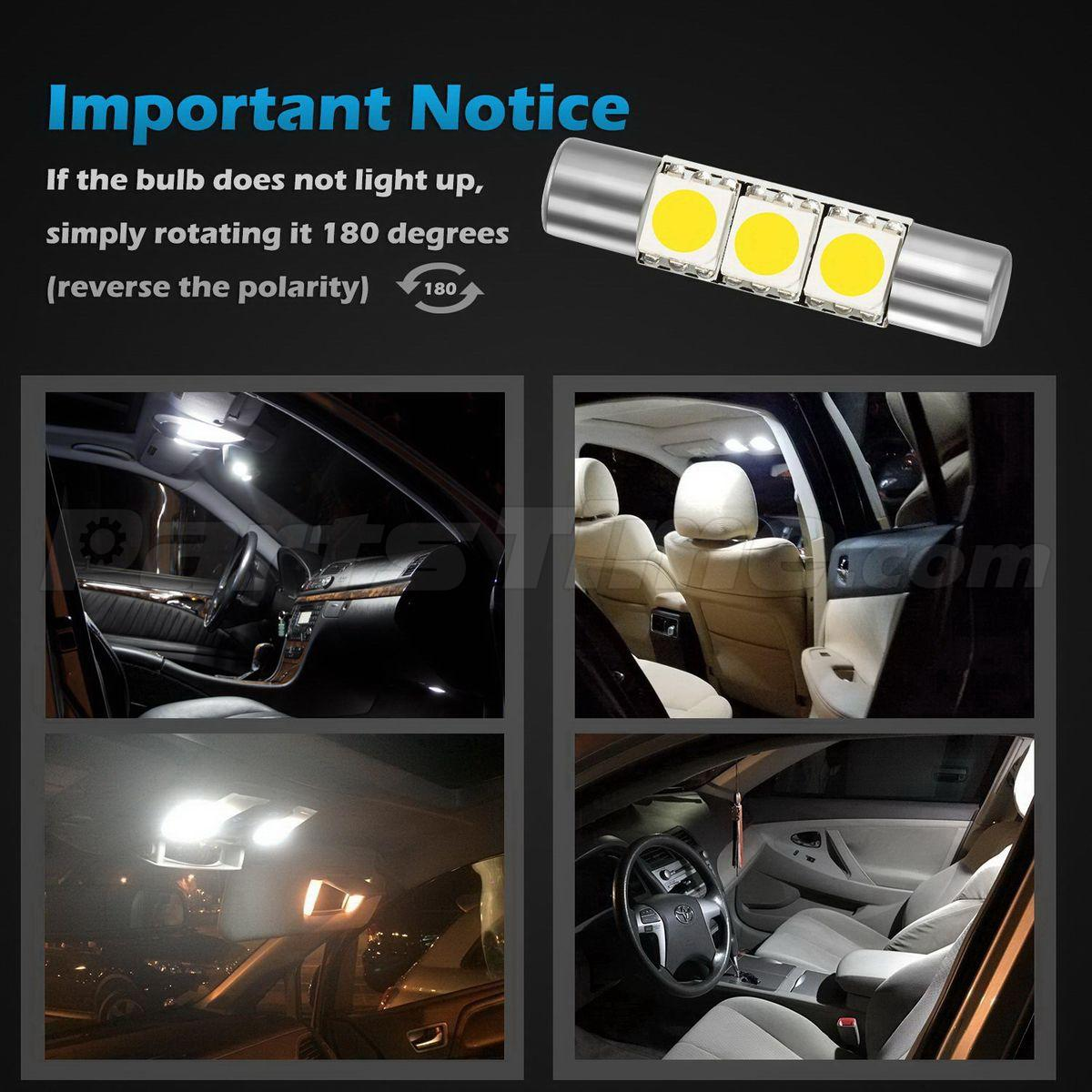 Vanity Light For Car Visor : 4x New Xenon White 3 SMD 6641 Fuse LED Visor Vanity Mirror Lights 12V Car Bulbs eBay