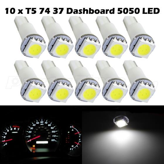10x White Bright 12V LED Wedge Instrument Panel Light Bulb