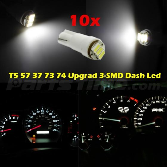 60x T5 74 Led Dashboard Speedometer Gauge Indicator Light: 10 Nos White T5 Wedge 3SMD 1206 Instrument Cluster LED