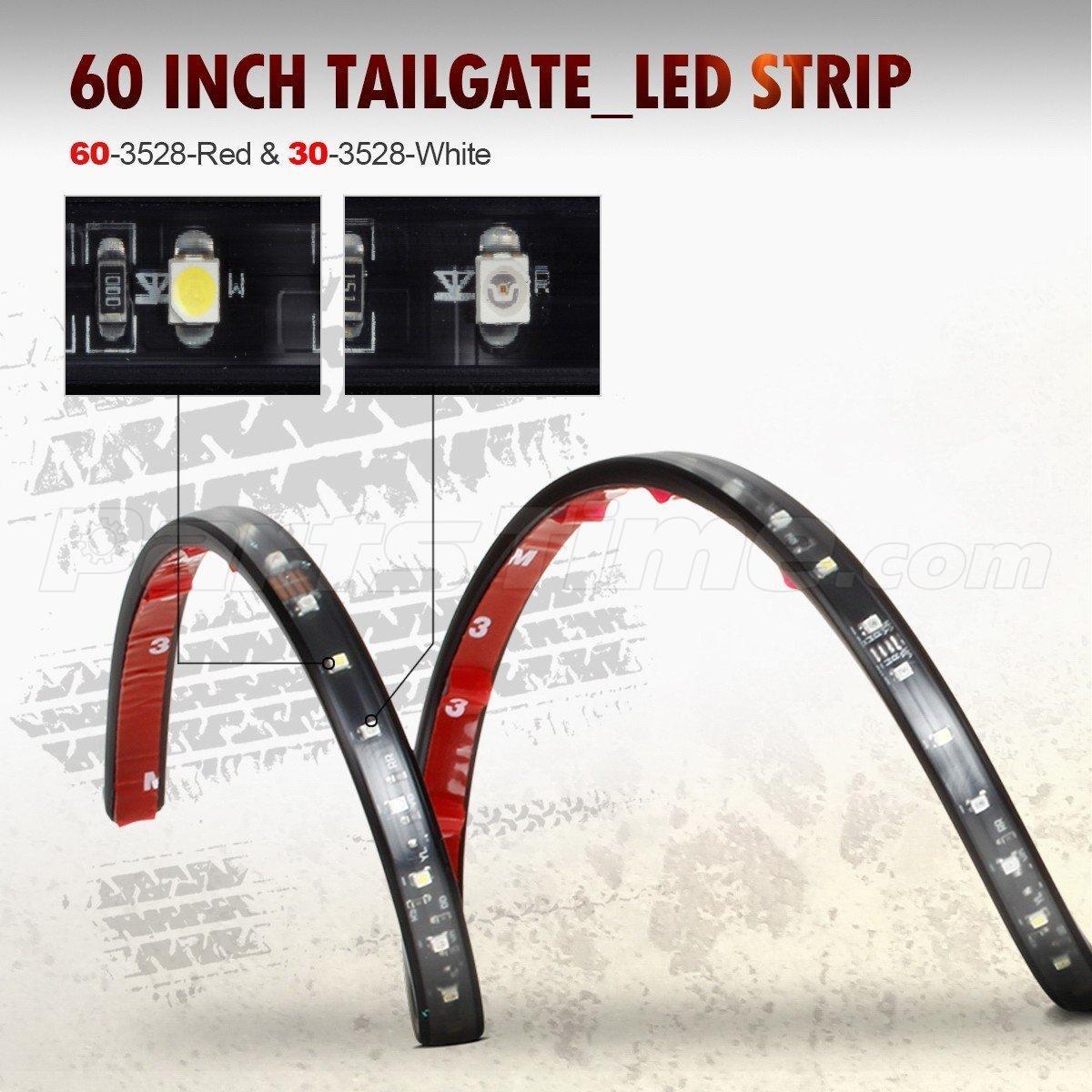 60 truck tailgate red white led light bar reverse brake turn signal running