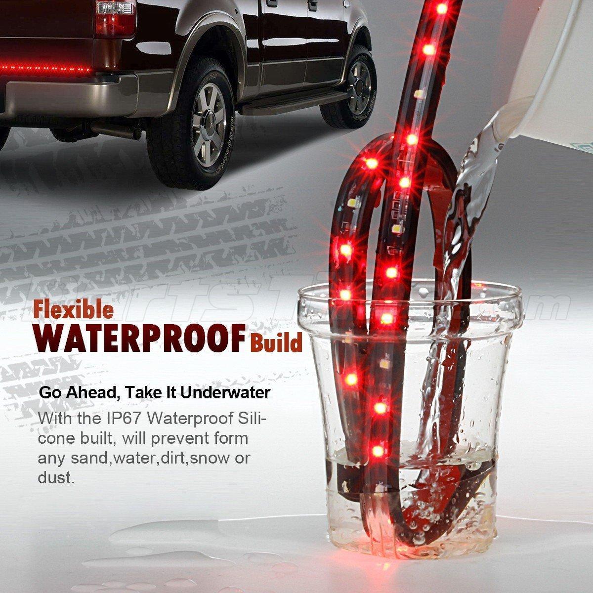 48 truck tailgate red led light bar strip brake rear turn signal running light