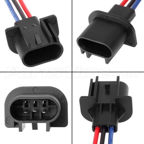 2 Pcs 9008 H13 Headlamp Wiring Adapter Socket Male End
