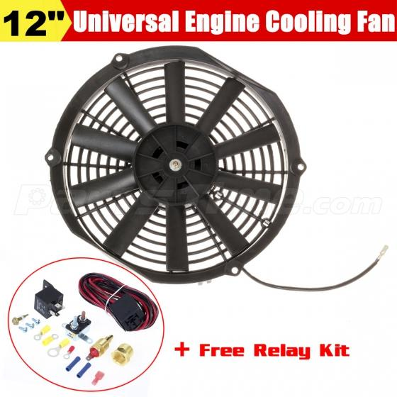 "12"" COOLING FAN + 185 DEGREE THERMOSTAT Temp Switch 40 AMP"