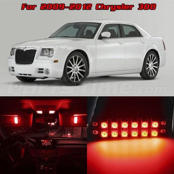 11x red interior led lights combo for 2009 2015 chrysler. Black Bedroom Furniture Sets. Home Design Ideas