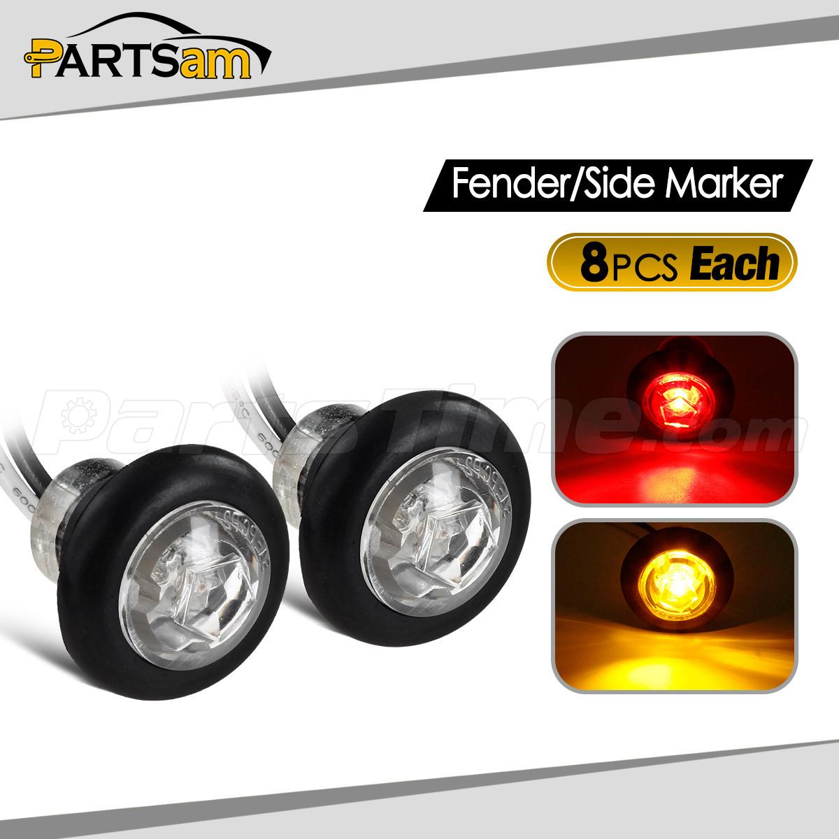 16 Led Red Amber Truck Trailer Rv Clearance Side Marker