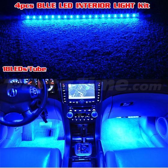 4x New Led Neon Lighting Kit For Car Truck Interior Footwell 3 Modes Blue Ebay