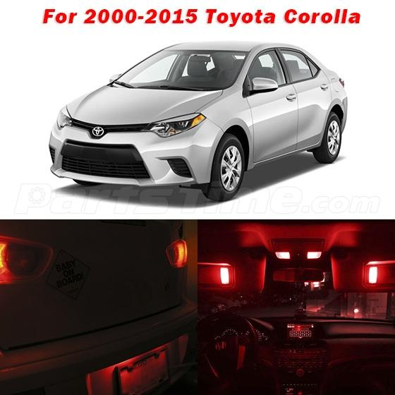 6 pcs deluxe red led lights interior package kit for 2000 - 2015 toyota corolla interior lights ...