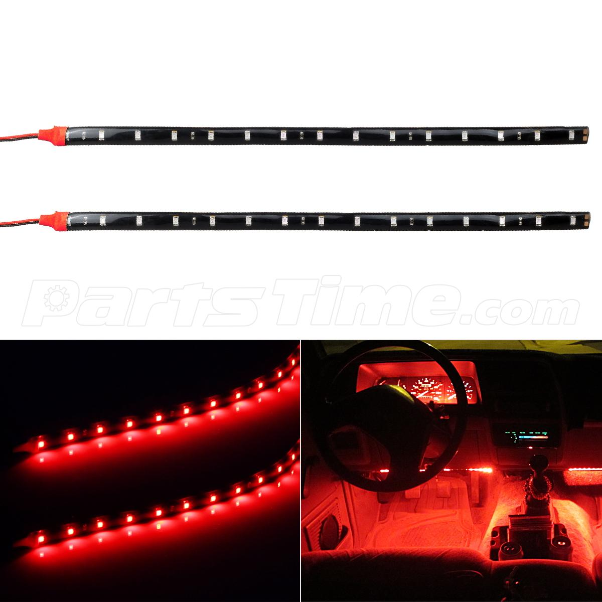 2pcs Car Interior Under Dash Floor Decorative Led Lights
