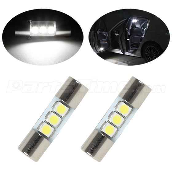 2x xenon white 3 3528 smd led bulbs for car vanity mirror lights sun visor lamp ebay. Black Bedroom Furniture Sets. Home Design Ideas