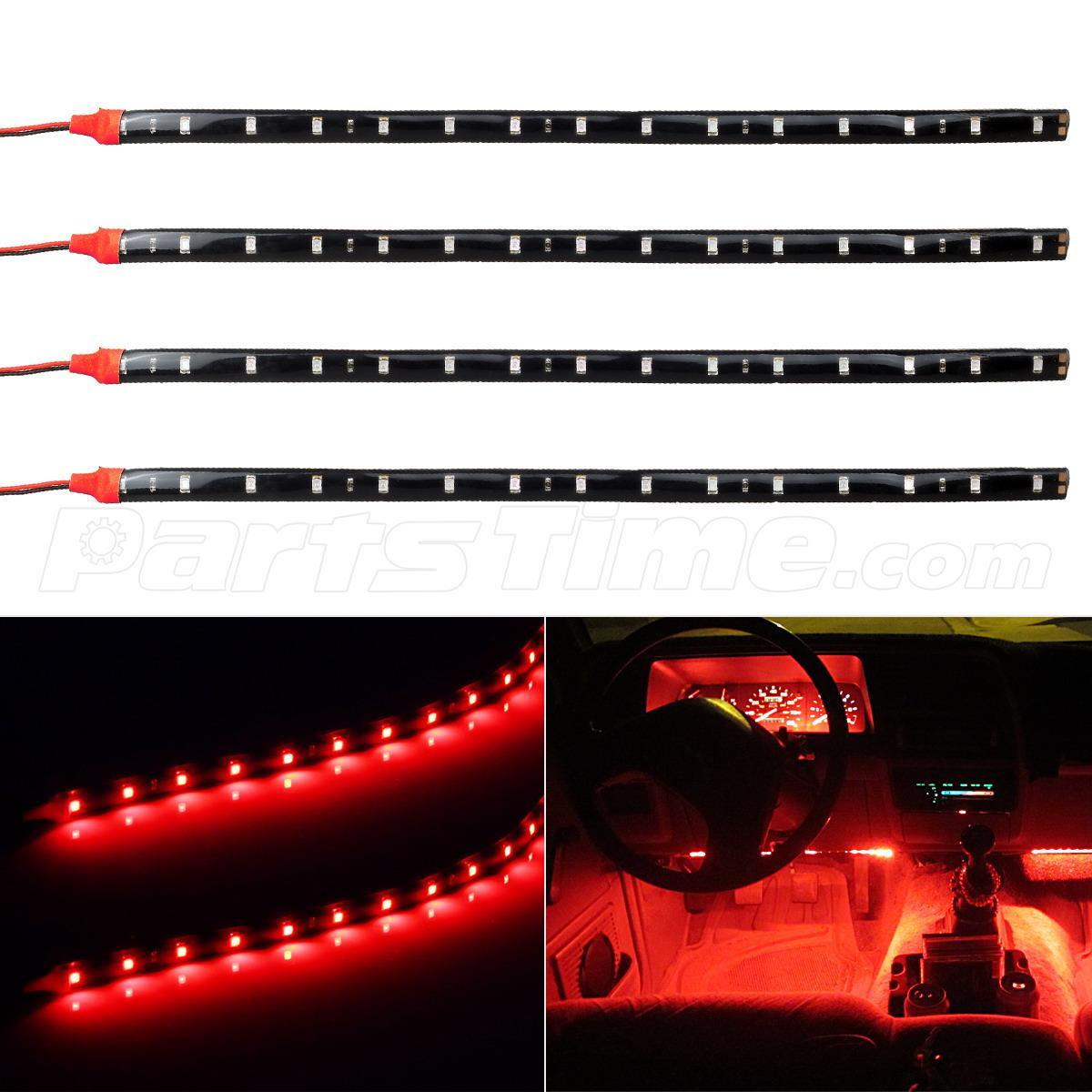 4 X Car White 12 Led Decorative Interior Floor Undercar: 4x 15-SMD Red LED Strip Lights For Car Holder Glove Foot