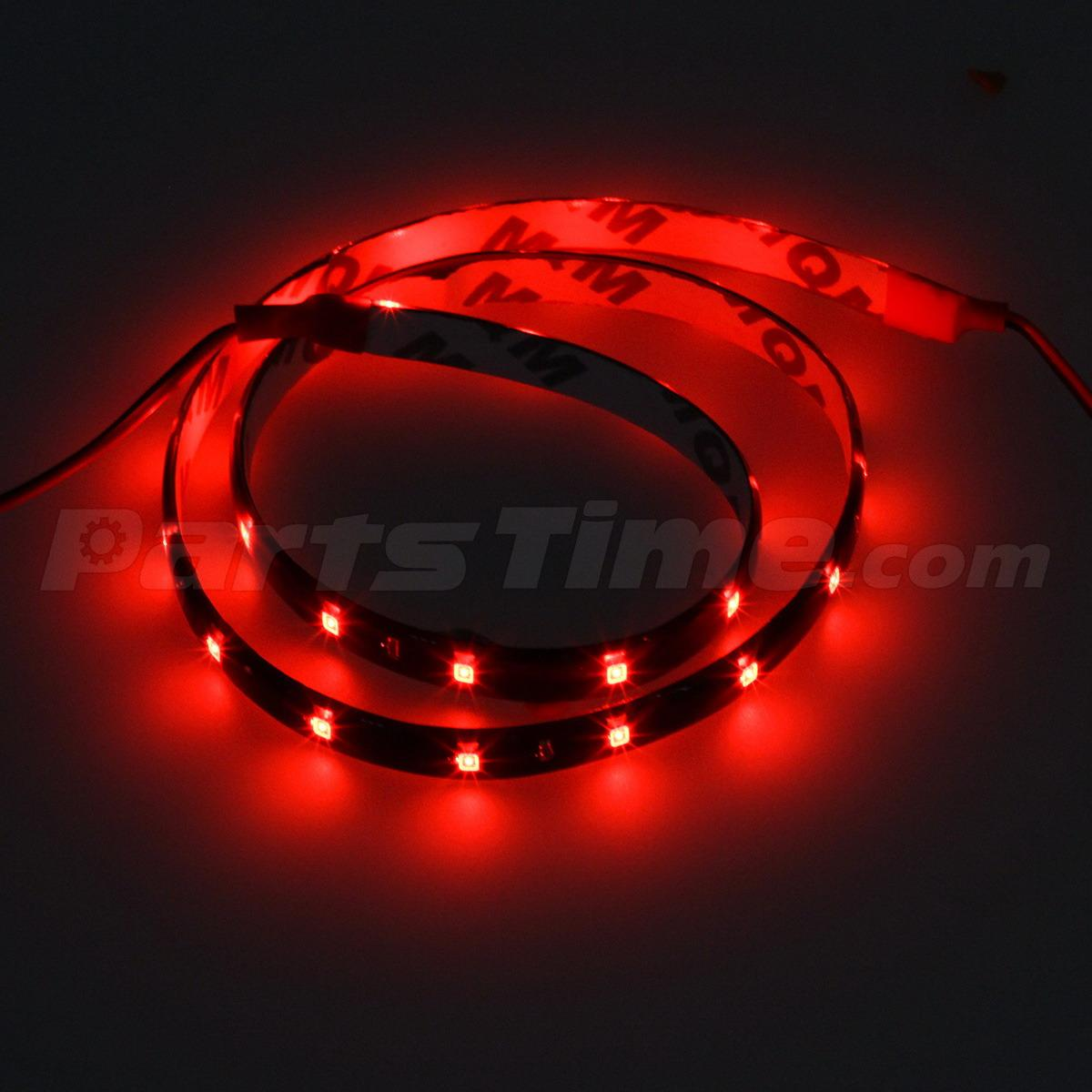 4pcs Red Car Led Flexible Bar Strip 3528 30 Smd 60cm 12v