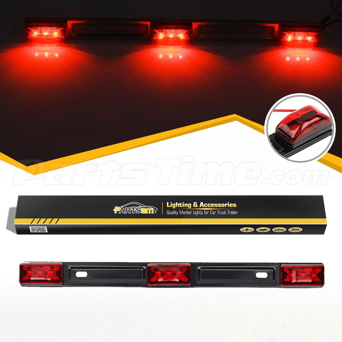 red clearance id bar marker light 3 light 9 led trailer. Black Bedroom Furniture Sets. Home Design Ideas