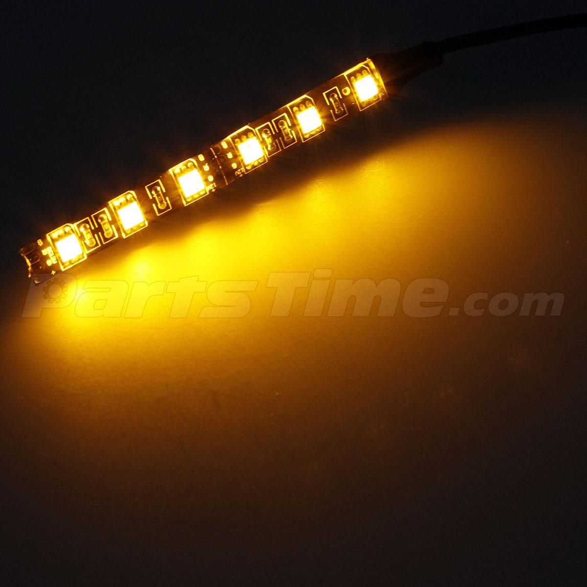 2x 12v 5050 smd amber led strip lights for motorcycle under glow accent lighting ebay. Black Bedroom Furniture Sets. Home Design Ideas