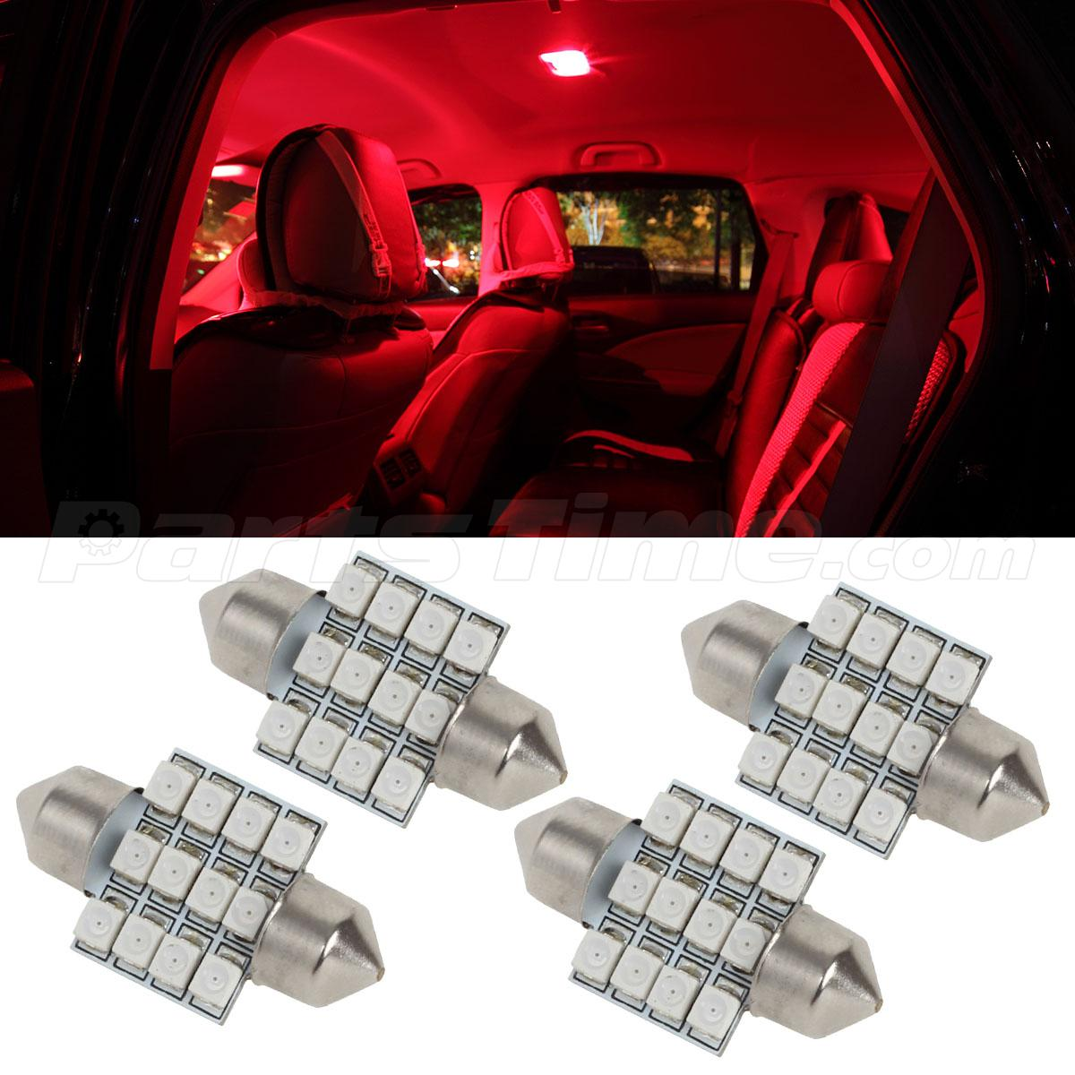 4x red 12 smd 31mm festoon car interior dome map lights 6418 12v ebay. Black Bedroom Furniture Sets. Home Design Ideas